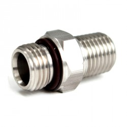"Stainless Adapter 9/16""-18 Male to 1/4"" Male NPT"