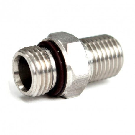 """Stainless Adapter 9/16""""-18 Male to 1/4"""" Male NPT"""