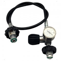 DECANTING HOSE DIN 300bar 2m with pressure gauge